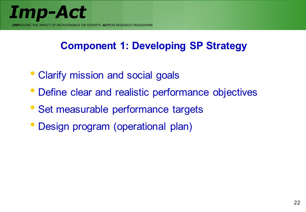 Component 1: Developing SP Strategy