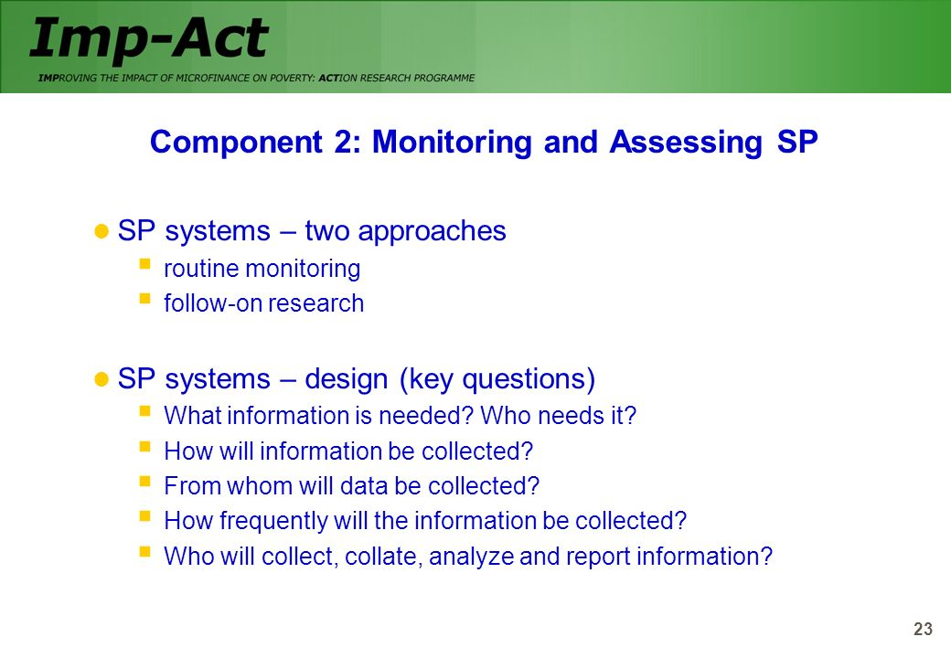 Component 2: Monitoring and Assessing SP