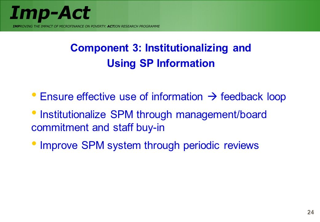Component 3: Institutionalizing and