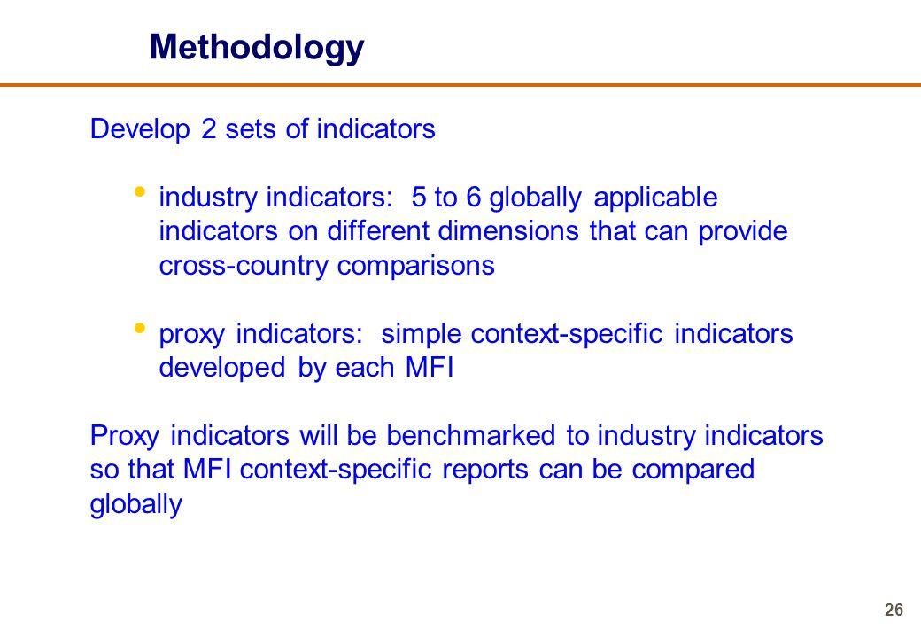 Methodology Develop 2 sets of indicators