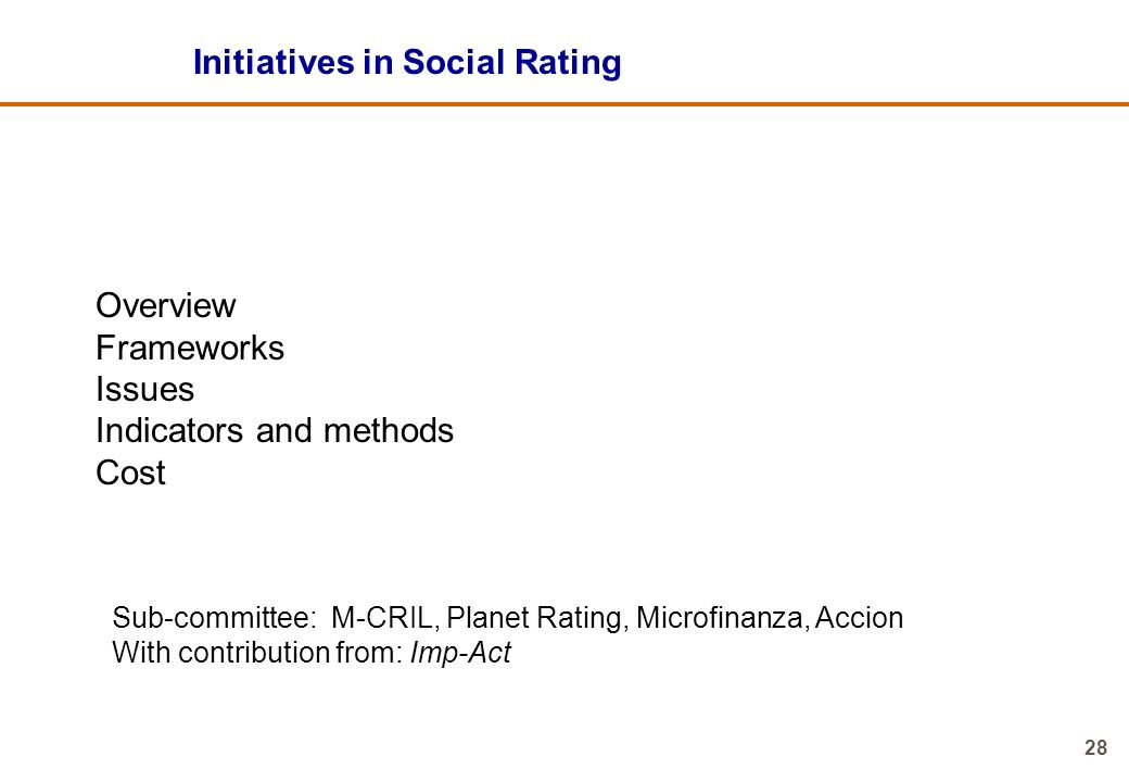 Initiatives in Social Rating