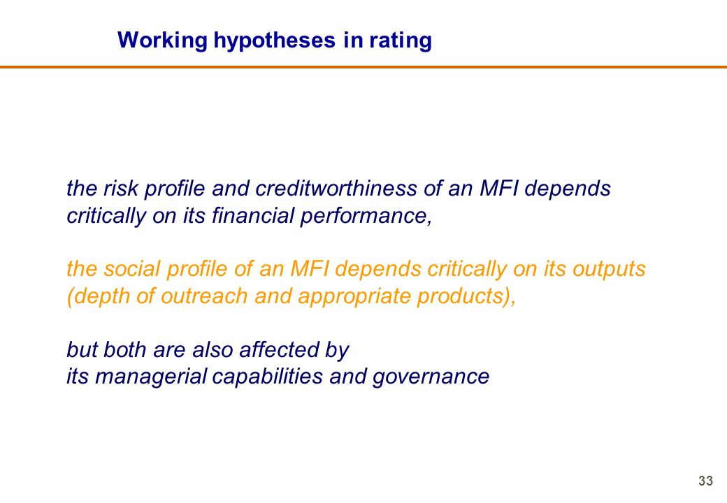 Working hypotheses in rating