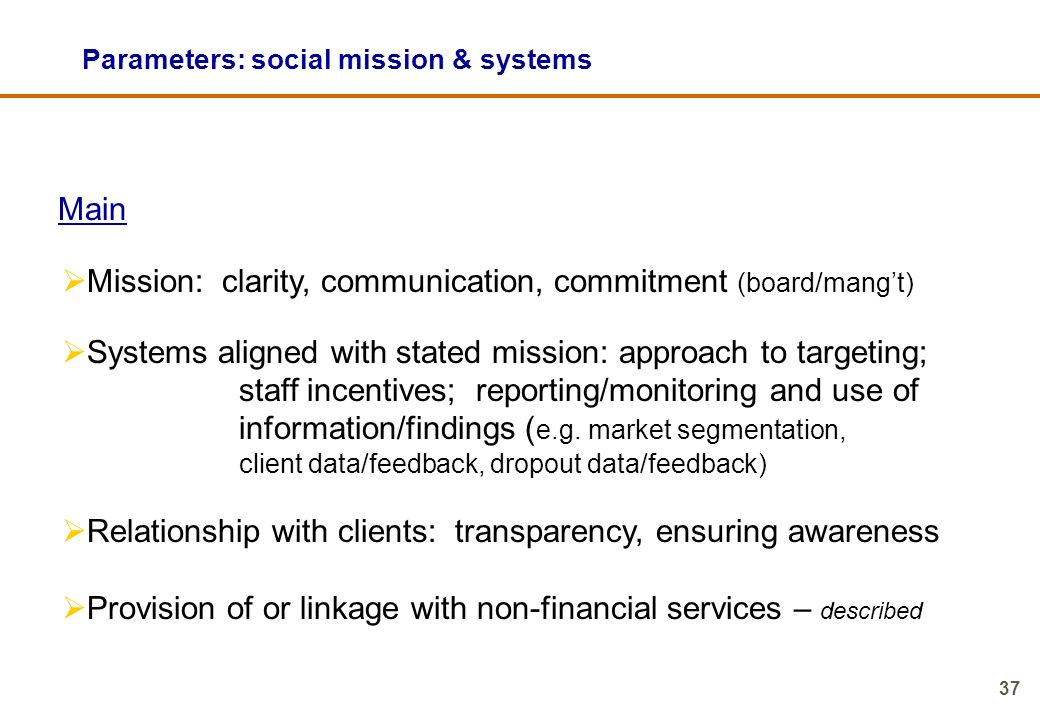 Parameters: social mission & systems