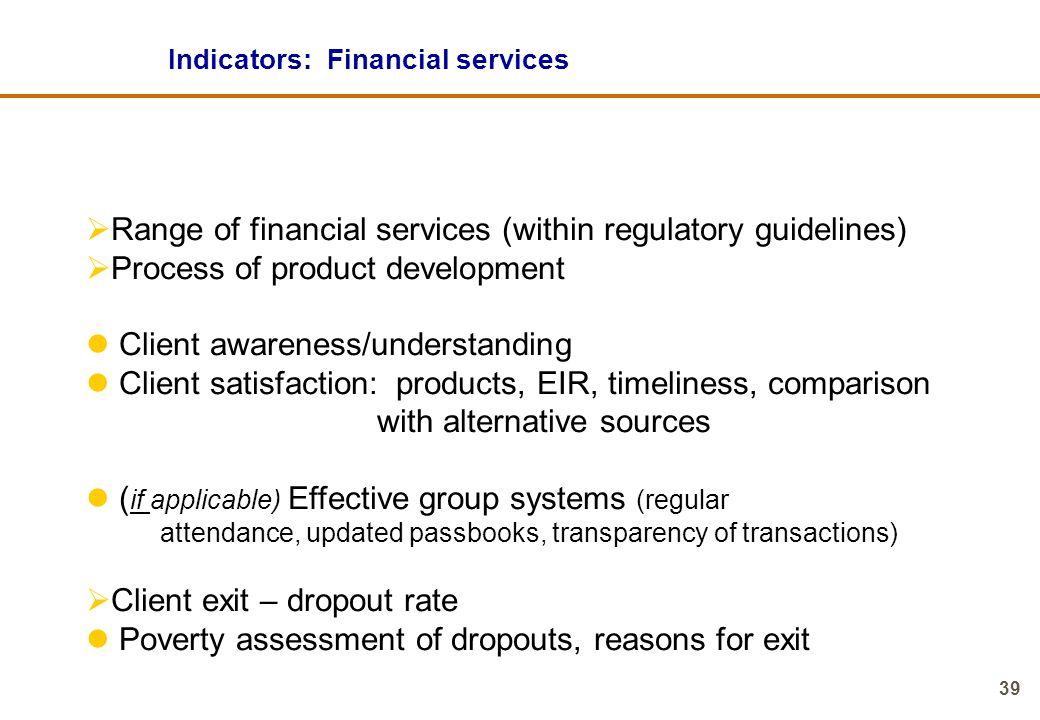 Indicators: Financial services