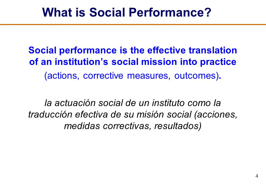 What is Social Performance