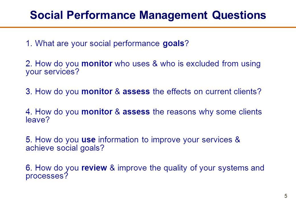 Social Performance Management Questions
