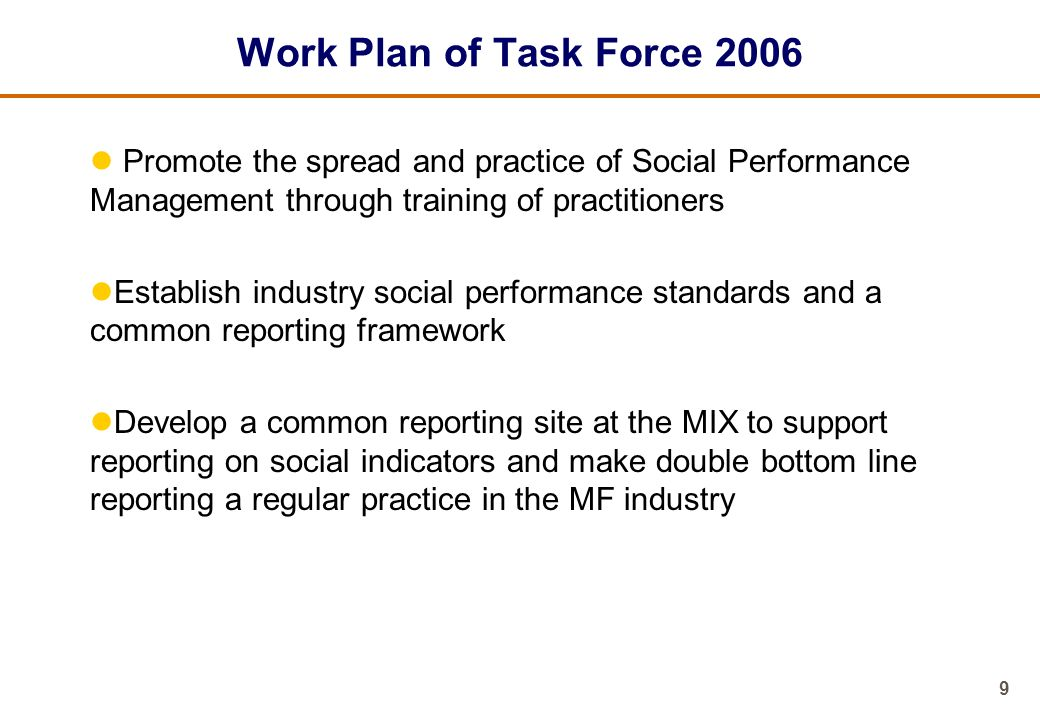 Work Plan of Task Force 2006 Promote the spread and practice of Social Performance Management through training of practitioners.