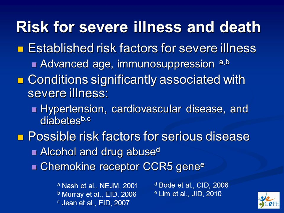 Risk for severe illness and death