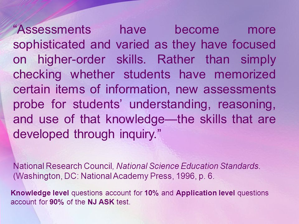 Assessments have become more sophisticated and varied as they have focused on higher-order skills. Rather than simply checking whether students have memorized certain items of information, new assessments probe for students' understanding, reasoning, and use of that knowledge—the skills that are developed through inquiry.