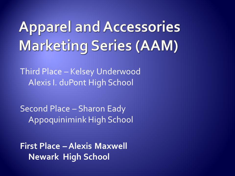 Apparel and Accessories Marketing Series (AAM)