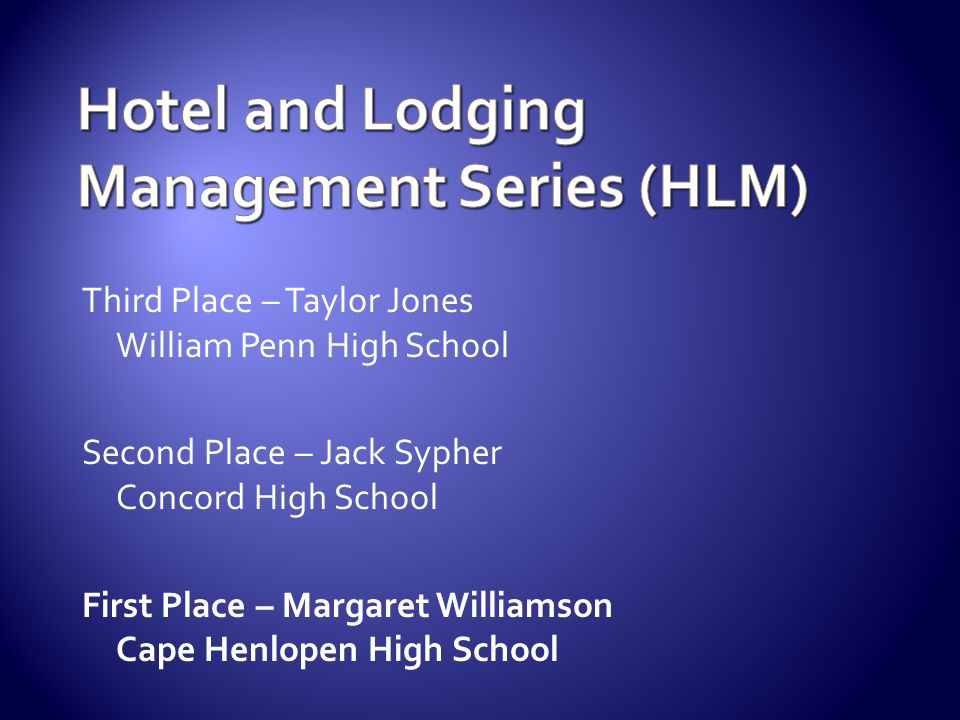 Hotel and Lodging Management Series (HLM)