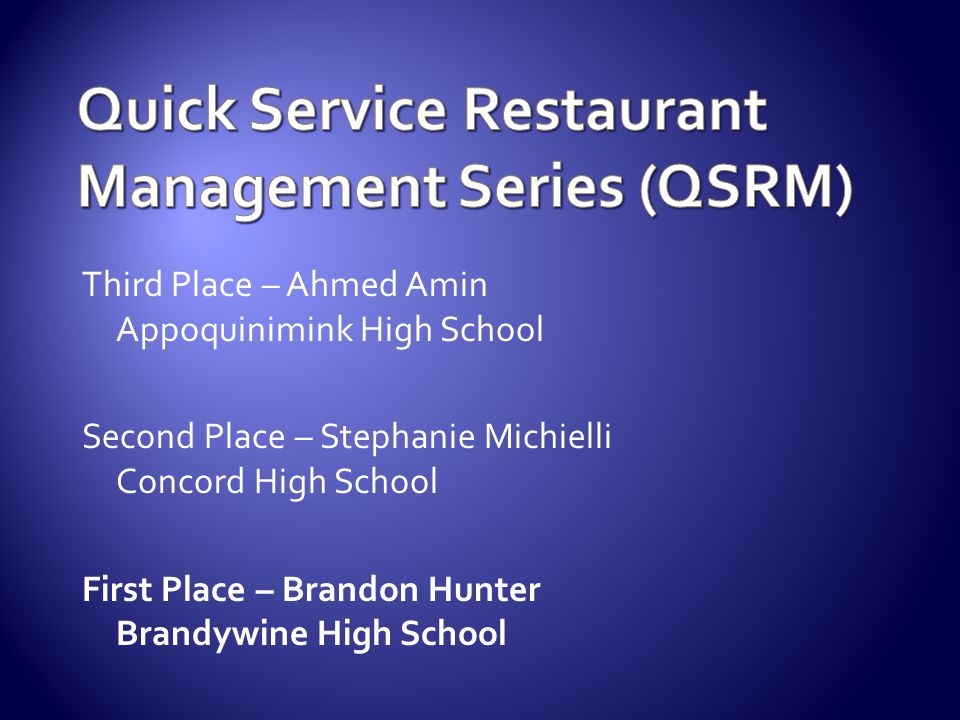 Quick Service Restaurant Management Series (QSRM)