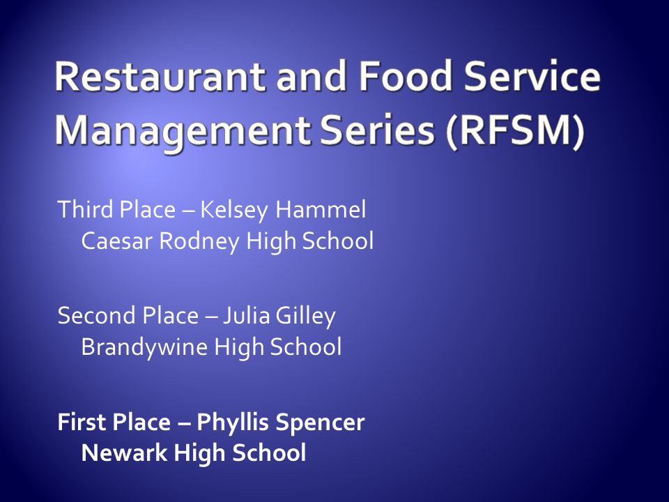 Restaurant and Food Service Management Series (RFSM)