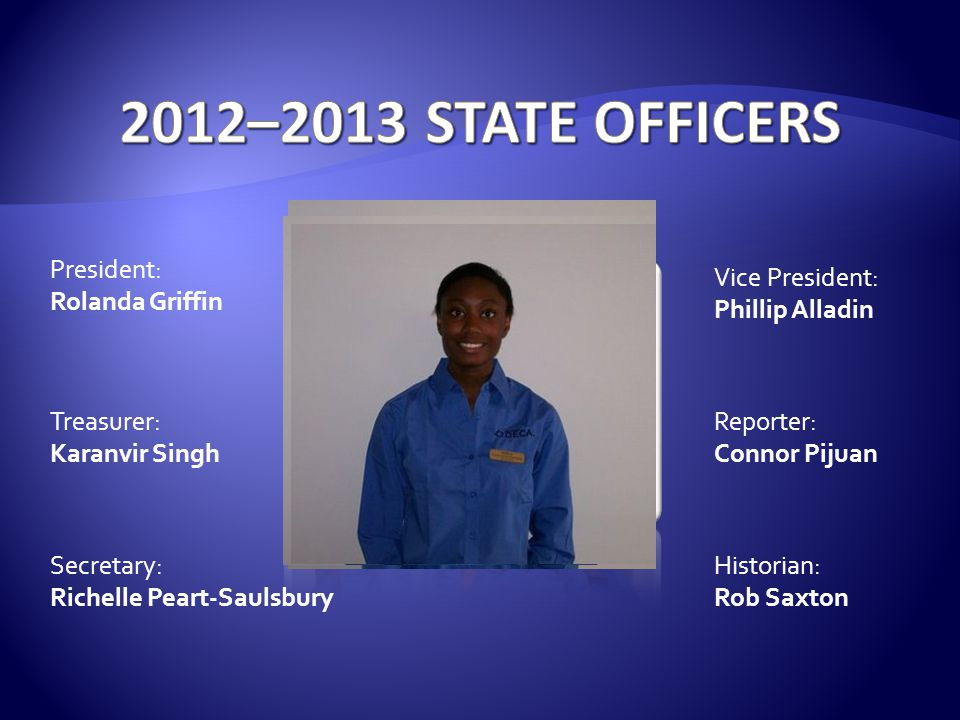 2012–2013 STATE OFFICERS President: Rolanda Griffin Vice President: