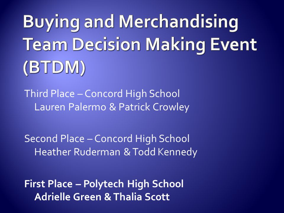Buying and Merchandising Team Decision Making Event (BTDM)