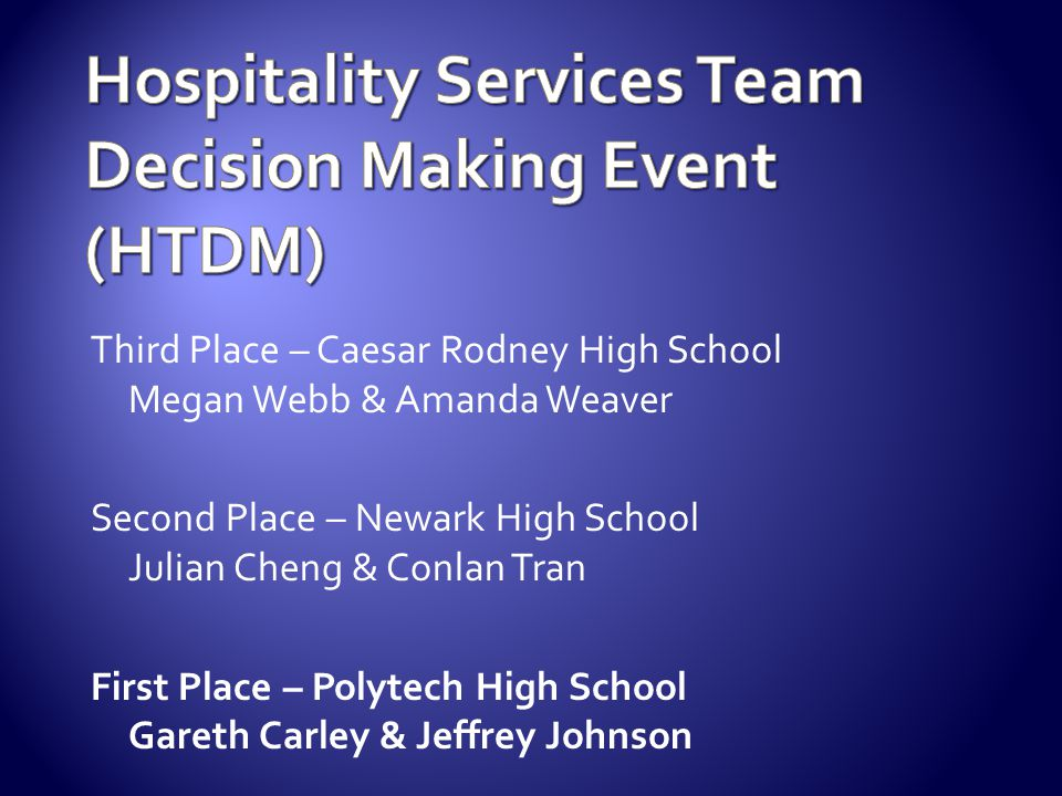 Hospitality Services Team Decision Making Event (HTDM)