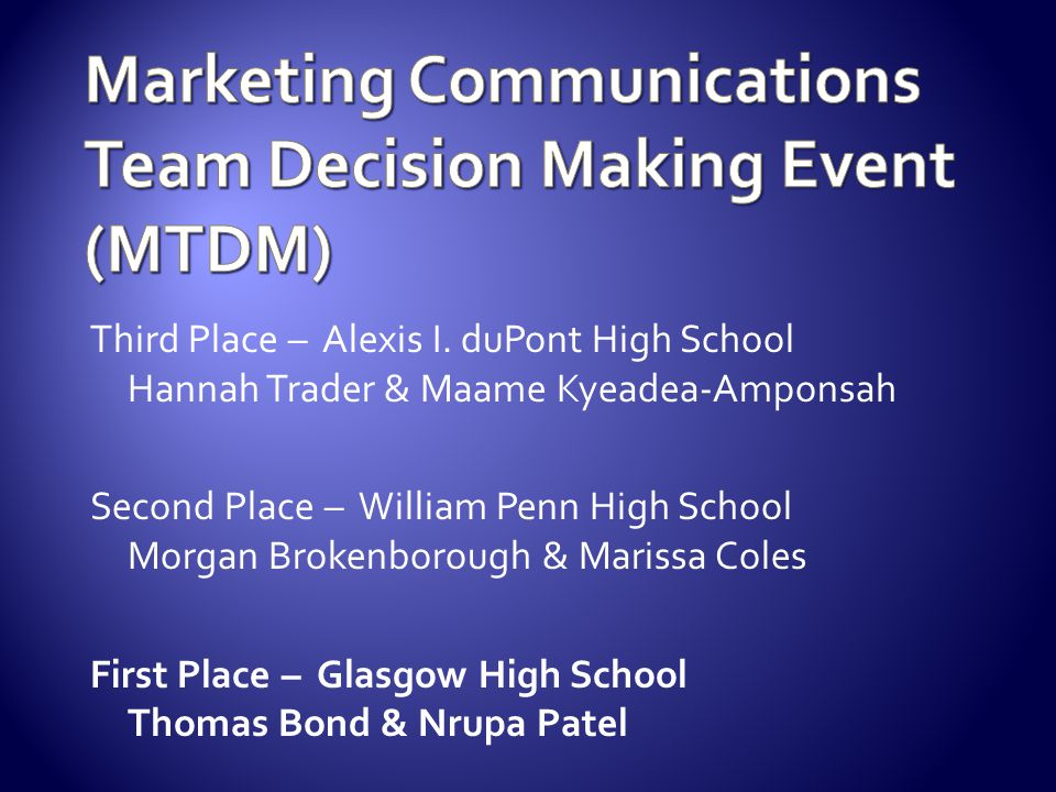 Marketing Communications Team Decision Making Event (MTDM)