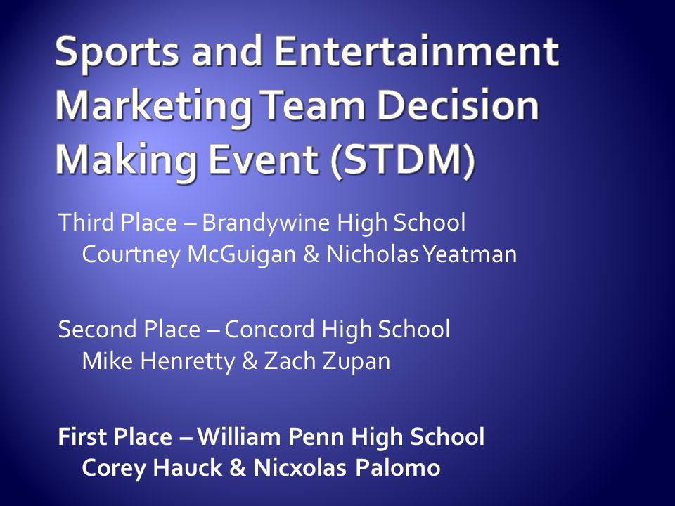 Sports and Entertainment Marketing Team Decision Making Event (STDM)