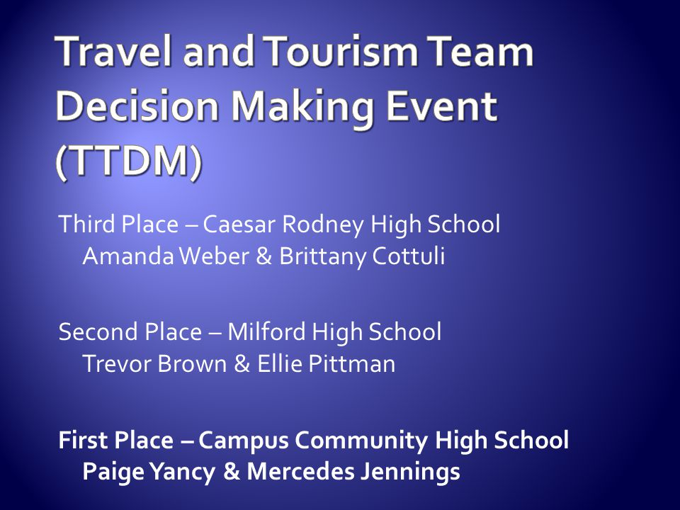Travel and Tourism Team Decision Making Event (TTDM)