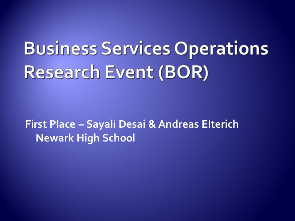 Business Services Operations Research Event (BOR)