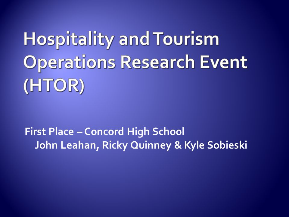 Hospitality and Tourism Operations Research Event (HTOR)