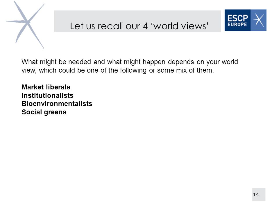 Let us recall our 4 'world views'