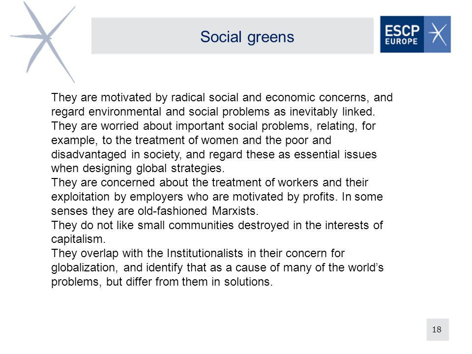 Social greens They are motivated by radical social and economic concerns, and regard environmental and social problems as inevitably linked.
