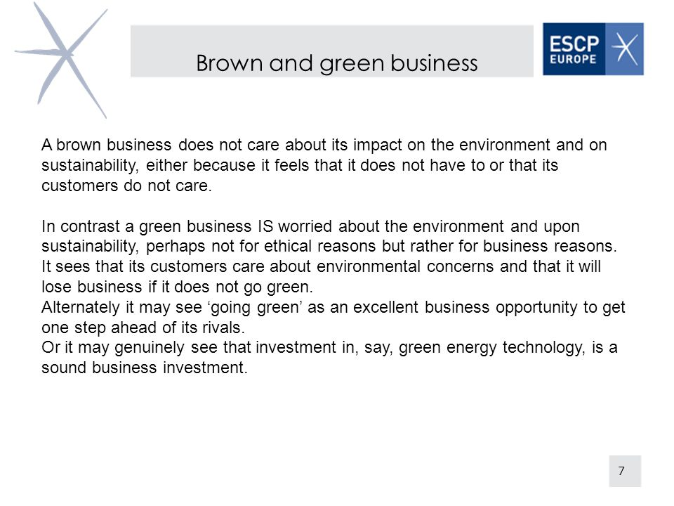 Brown and green business
