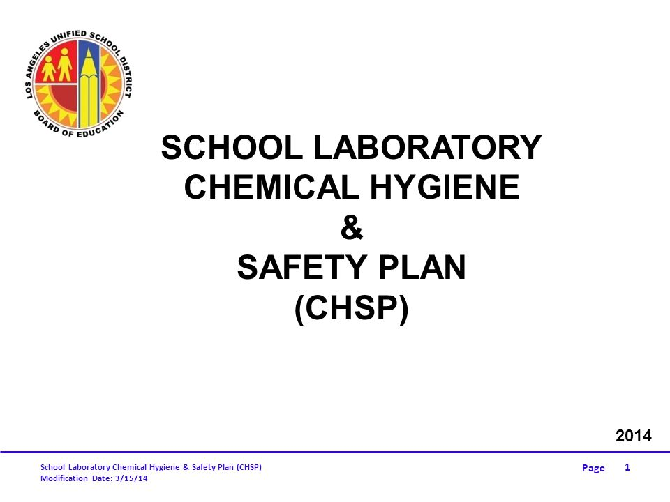 School Laboratory Chemical Hygiene & Safety Plan
