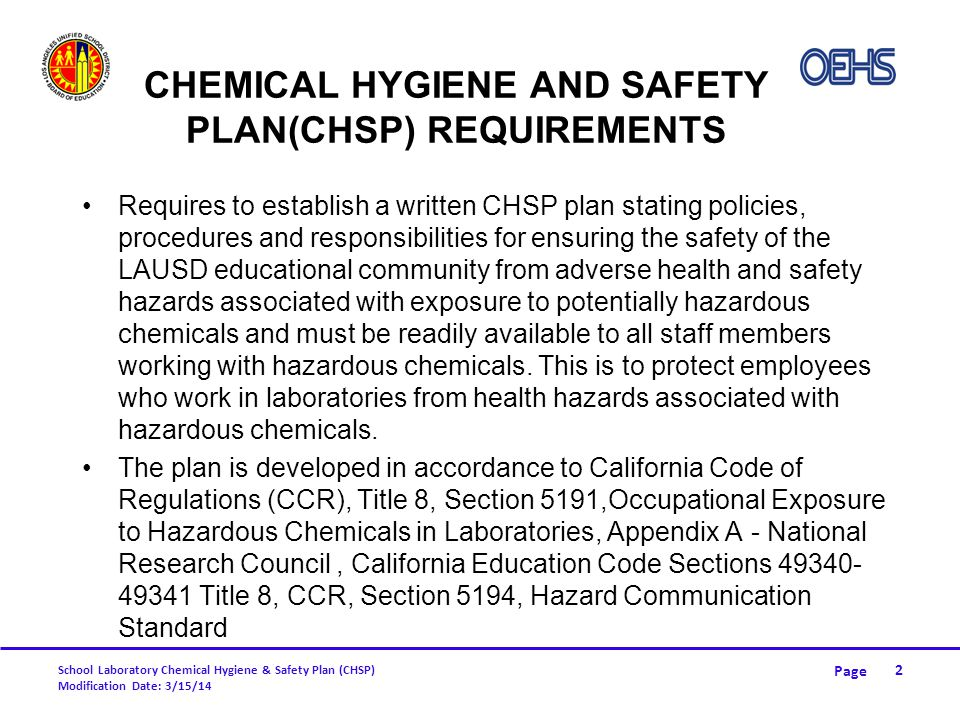 Chemical Hygiene and Safety Plan(CHSP) REQUIREMENTS