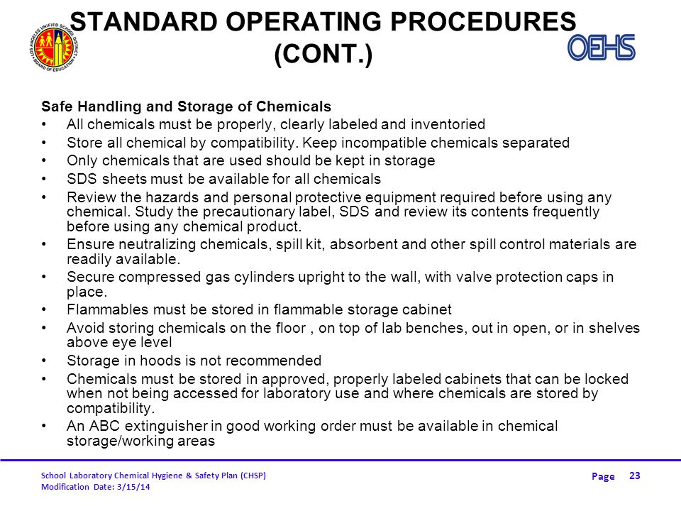 Standard Operating Procedures (CONT.)