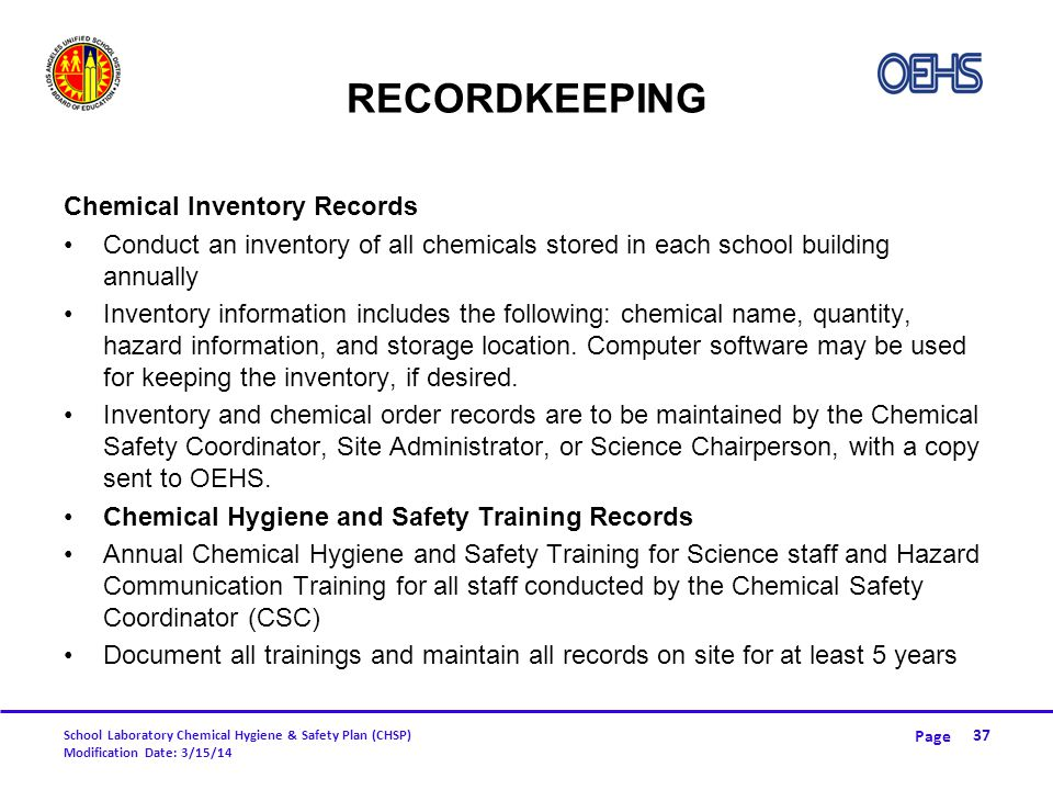 Recordkeeping Chemical Inventory Records