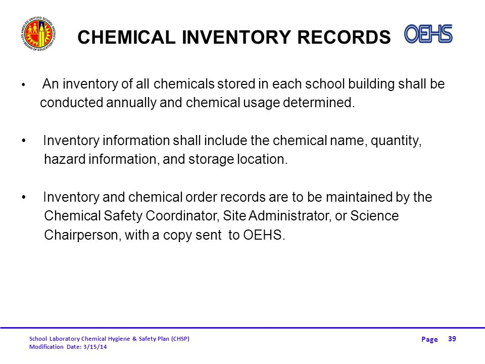 Chemical Inventory Records