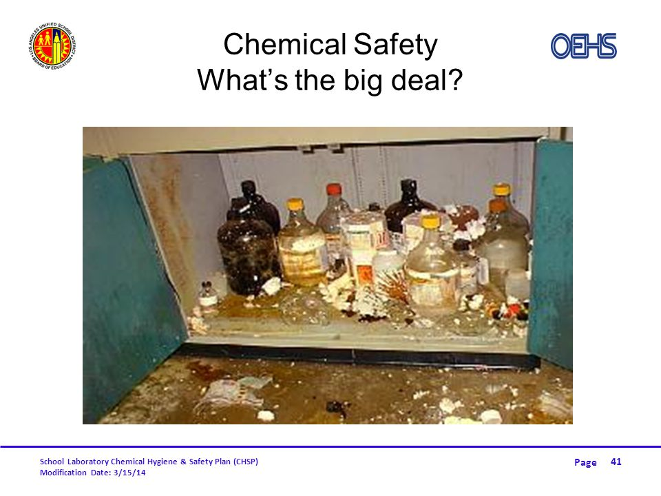 Chemical Safety What's the big deal
