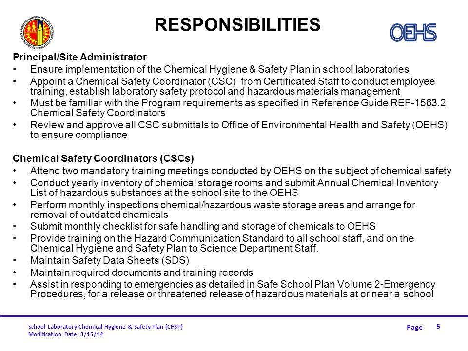 Responsibilities Principal/Site Administrator
