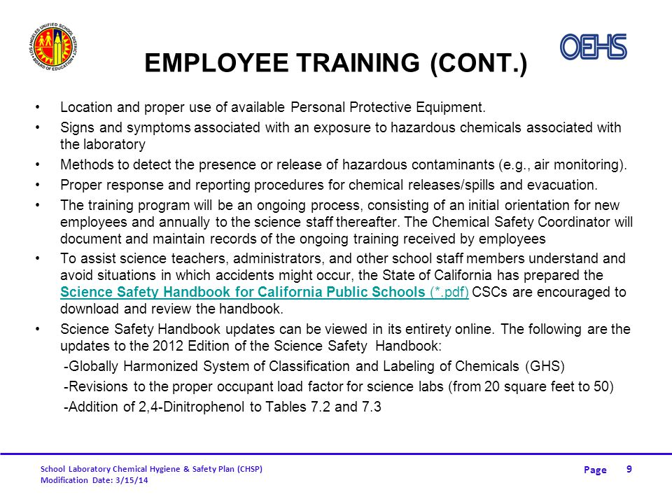 Employee Training (cont.)
