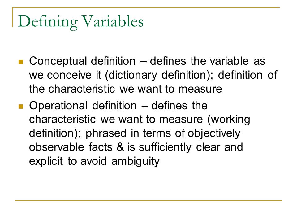 Defining Variables