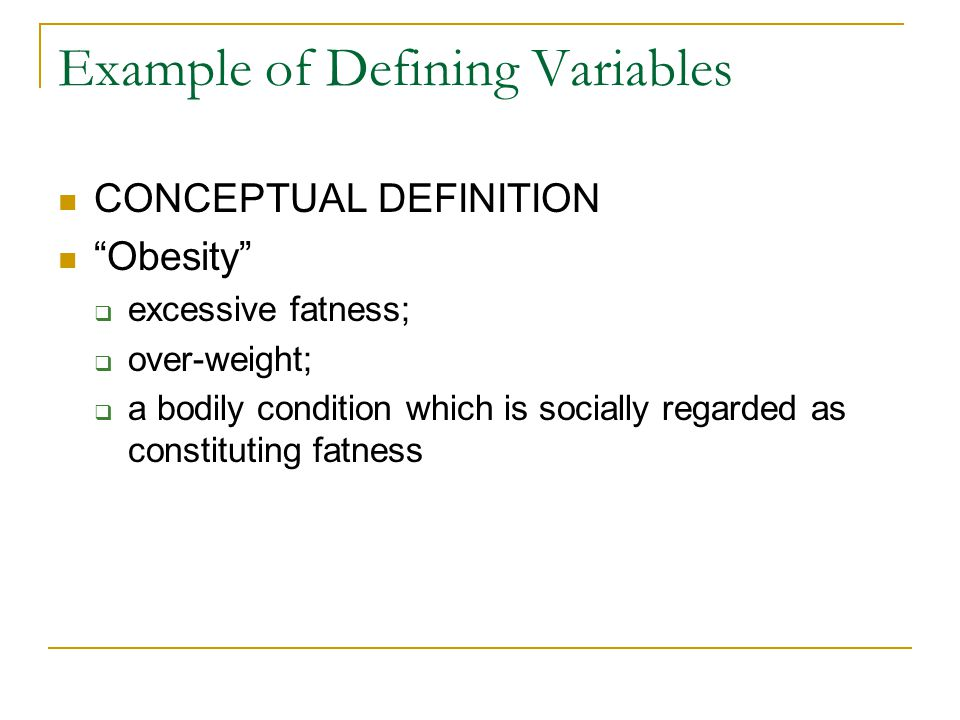 Example of Defining Variables