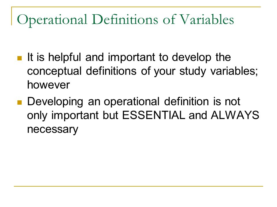 Operational Definitions of Variables