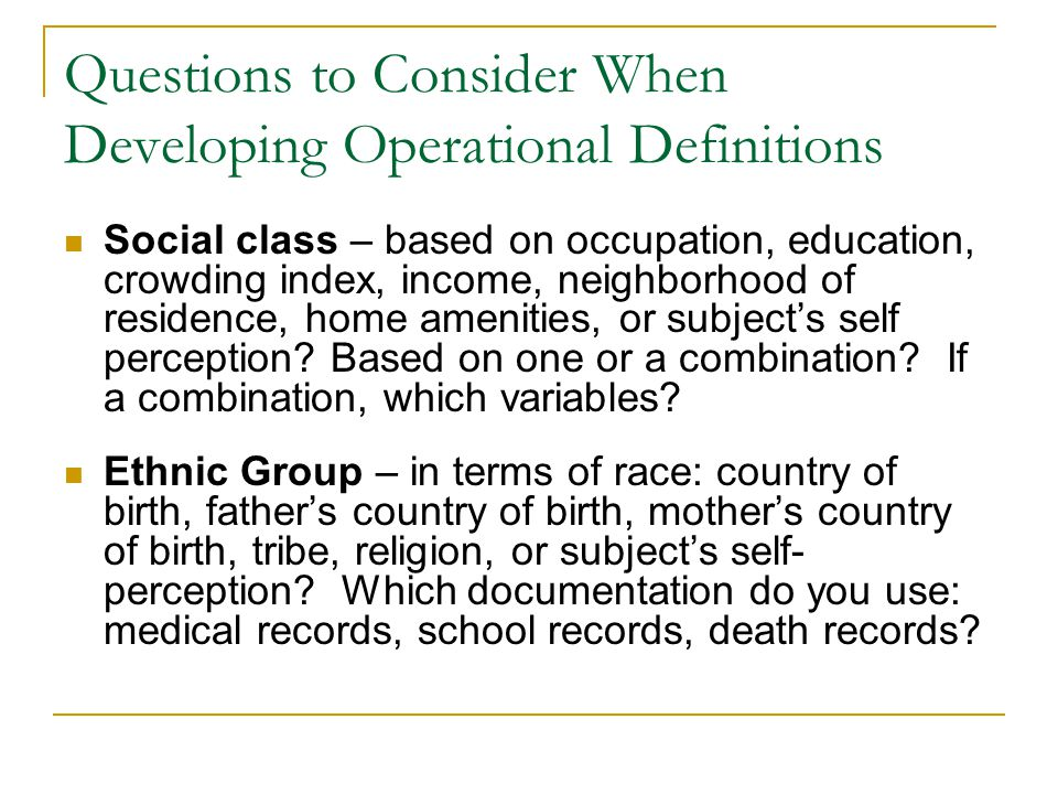 Questions to Consider When Developing Operational Definitions