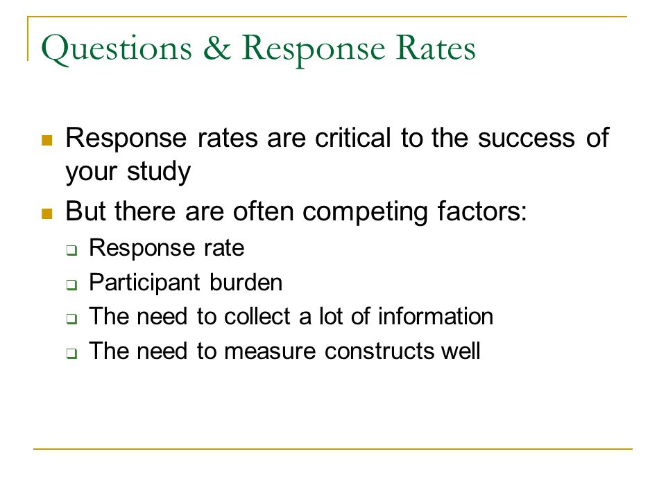 Questions & Response Rates