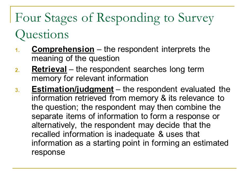 Four Stages of Responding to Survey Questions