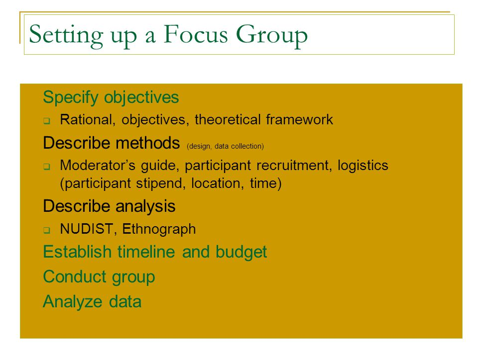 Setting up a Focus Group