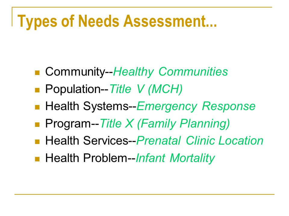 Types of Needs Assessment...
