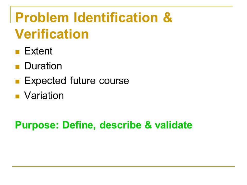 Problem Identification & Verification
