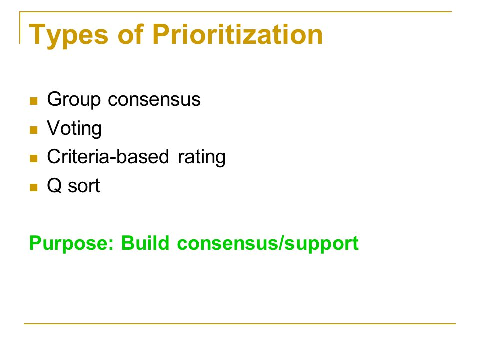 Types of Prioritization