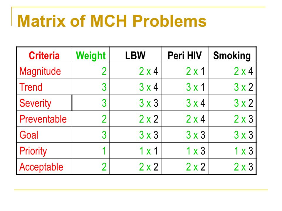 Matrix of MCH Problems Criteria Weight LBW Peri HIV Smoking Magnitude