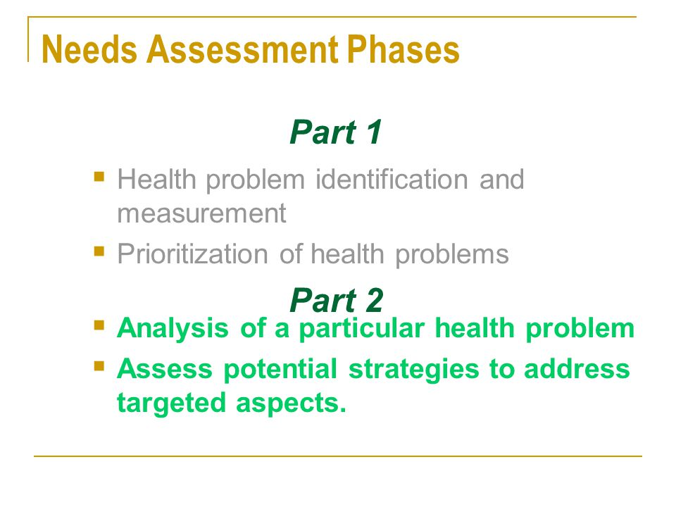 Needs Assessment Phases
