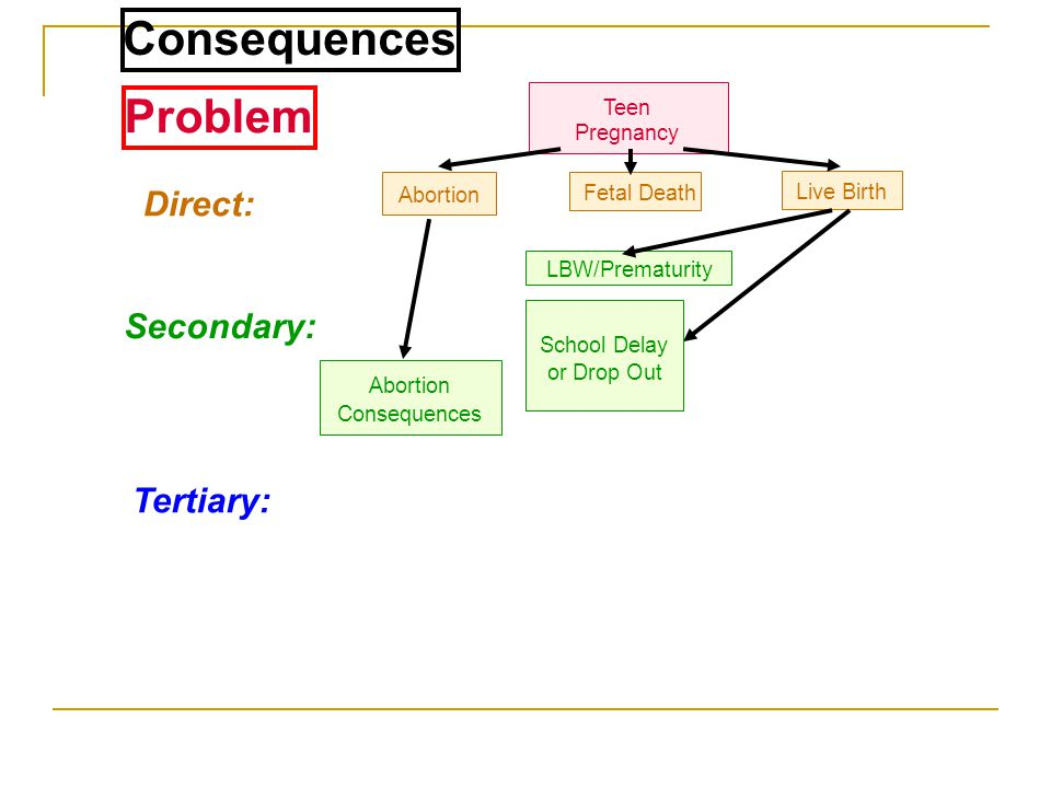 Consequences Problem Direct: Secondary: Tertiary: Teen Pregnancy
