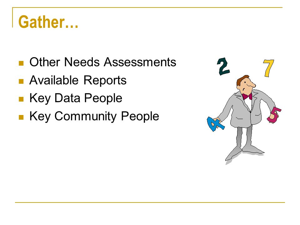 Gather… Other Needs Assessments Available Reports Key Data People